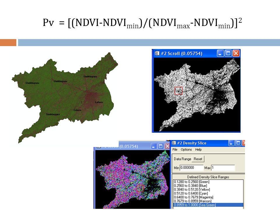 Pv = [(NDVI-NDVImin)/(NDVImax-NDVImin)]2